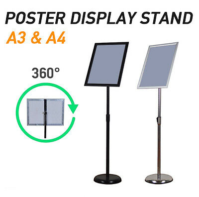 A3 A4 Poster Stand Metal Frame Pedestal Sign Holder Display Adjustable Height