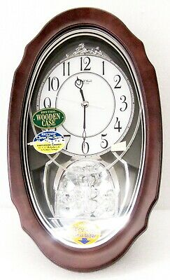 """Rhythm Musical Wooden Wall Clock -""""crystal Hearts"""" With 30  Melodies 4Mh870Wu06"""