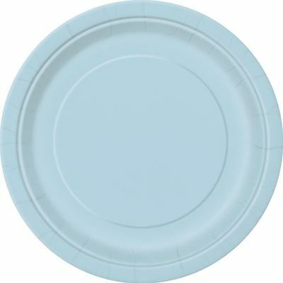 """16 Plain Baby Blue Round Paper Plates 9"""" New Year Bbq Tablewear Catering"""