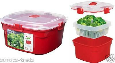 Sistema Rectangular Microwave Steamer - Large 3.2 Liter Red clear Lid