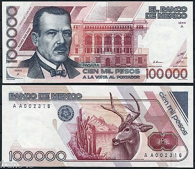 MEXICO 100000 Pesos 1988 Low serial Pick 94a SC  /  UNC