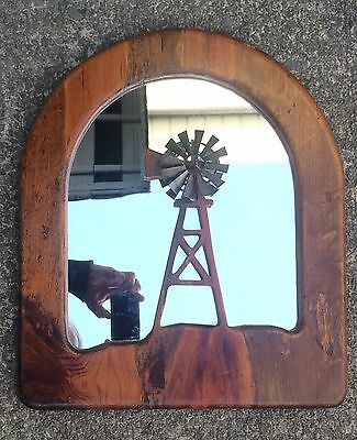 Hand-Carved One Piece Wooden Wind-Mill Motiv Framed Mirror