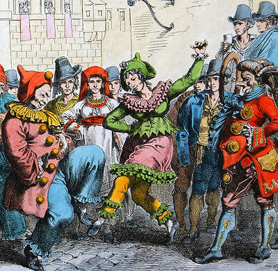 1820 Pinelli Hand Colored Engraving - Carnivale De Roma