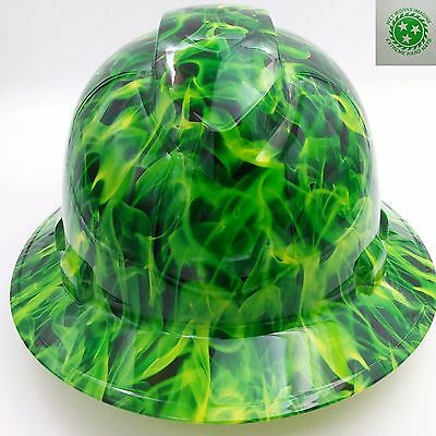 Hard Hat custom hydro dipped , OSHA approved FULL BRIM GREEN INFERNO EXPLOSION