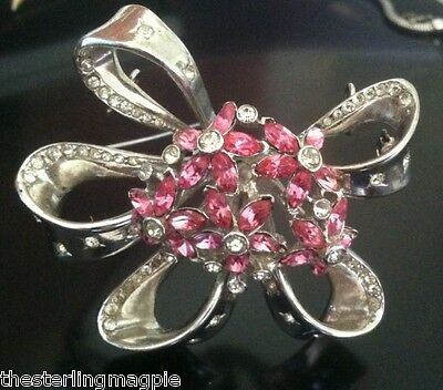 Vintage Sterling Silver Pink Rhinestone Bow Ribbon Coro Craft Pin Brooch HEAVY