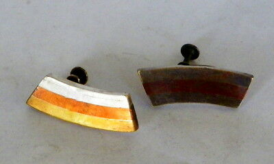 Vintage 1950'smodernist Mixed Metals Earrings,- Mexico