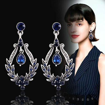 2019 Vintage Blue Crystal Dangle Earrings For Women Antique Silver Plated Es611