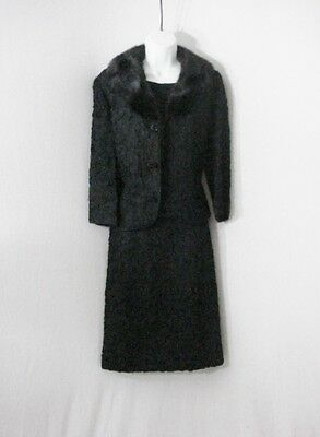 1950s Vintage Suit Bests Apparel 3 Piece Set Skirt Top Mink Collar Jacket Black