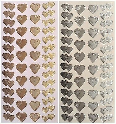 TWO TONE HEARTS Peel Off Stickers Heart Wedding Valentine Gold or Silver