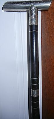 Antique Brass & Silver Chased Victorian Cane Walking Stick Late 1800's