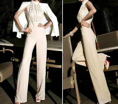 New Fashion Stylish Women Lace Pearl Long Cocktail Evening Party Romper Jumpsuit