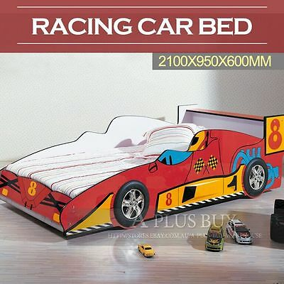 New Kids Toddler Children Single Size Racing Car Bed Bedding Frame Red 21R