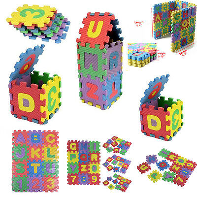 36pcs Large Interlocking EVA Foam Alphabet Letters Numbers Play Mat Puzzle New