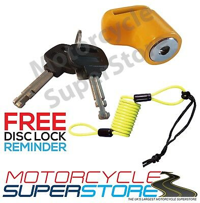 Security Bike Scooter Motorcycle Motorbike Disc Lock + Free Reminder Cable Wire