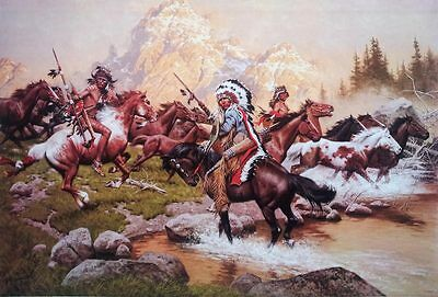 """Frank McCarthy Painting POSTER 23""""x34"""" Native American Indian Stolen ponies West"""