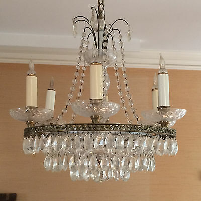 Vintage Formal Waterford Style 3 Teir Cut Crystal Electric Chandelier Light