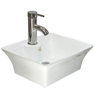 Counter Top Basin Rectangle Sink Ceramic Bowl Modern Bathroom Cloakroom Wash