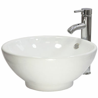 Counter Top Basin Round Sink Ceramic Bowl Gloss Modern Bathroom Cloakroom Wash