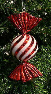 Shatterproof Glittered Red Striped Candy Christmas Tree Ornament