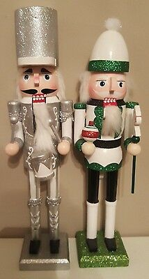 Large Christmas Nutcracker Silver Drummer Soldier Green Glitter 38 Cms 15 Inch