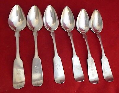 Set of 6 Coin Silver Spoons A. Dunn circa 1850 (#2025)