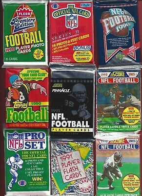 27 to 20 year old Football cards 150 each still in packs Including 8 star cards