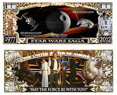 STAR WARS BILLET MILLION DOLLAR US! Collection Yoda Han Solo R2d2 Princesse Leia