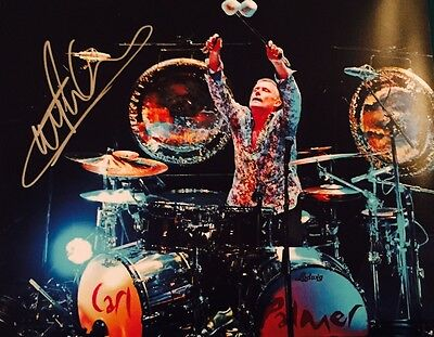 Carl Palmer ASIA Emerson Lake & Palmer Signed Autographed Drum 11x14 Photo