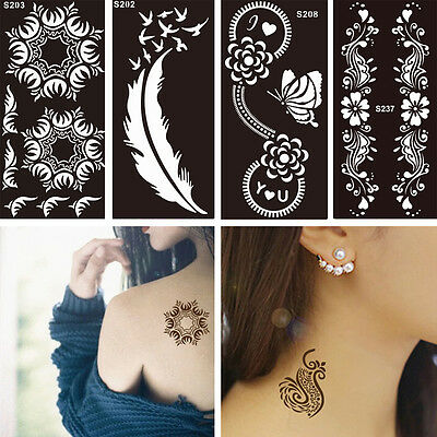 1 Sheet Black Flower Style Henna Stencil Body Art Temporary Tattoo Sticker Paper