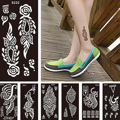 Fashion Fake Flower Lace Henna Stencil Body Art Temporary Tattoos Sticker Design