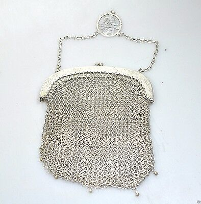 Antique Chinese Qing Export Silver Purse Bag Jewelry China Cumwo 1900