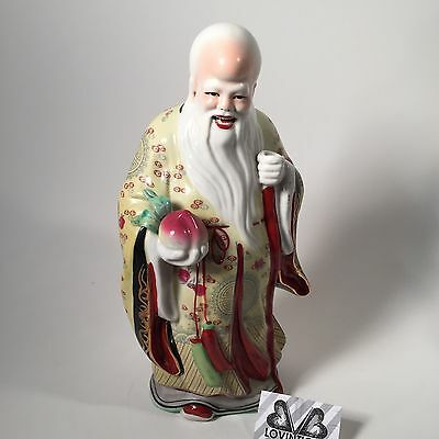 Chinese Antique Hand Painted Porcelain Statue Figurine Shou Xing God Longevity