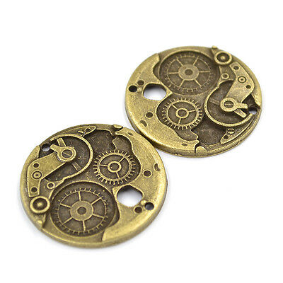 2 Pcs Bronze Steampunk Round Wheel Gears Clock Charms Cogs Pieces 38mm DIY Retro