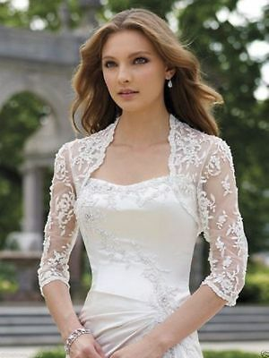 2018 New three-quarters sleeve white lace wedding beautiful bride shawl jacke