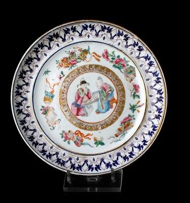 Antique Hand-Painted Chinese Porcelain Plate. China, 19th Century