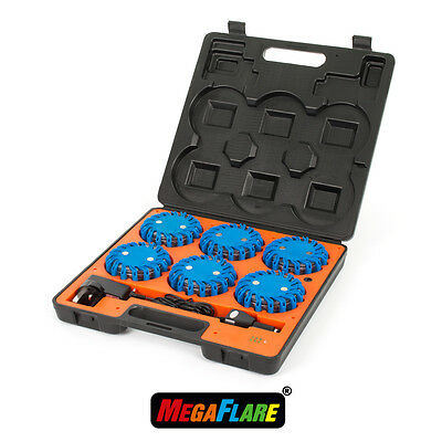 MegaFlare 6-Pack Emergency Recovery Flashing Warning Flare Lights Beacon BLUE