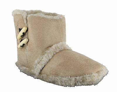 Coolers Womens Girls Beige Furry Lined Toggle Ankle Booties Snug Slippers