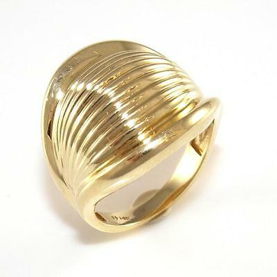 14K Yellow Gold Wide Ribbed Band Ring Size 6 QZ