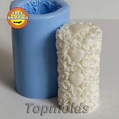The Cylinder of Roses and Hearts Mold Soap Mold Silicone Molds Free Shipping