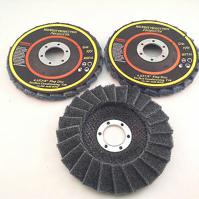 """4.5""""x7/8"""" Very Fine Grit Surface Conditioning T29 Flap Discs - 3 discs"""