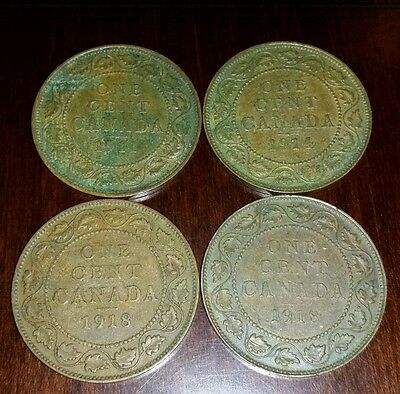 (4) CANADA Large One Cent EDWARD V Coins (1)1911 (1) 1914 (2) 1918