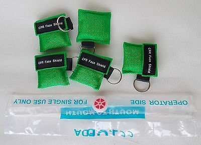 5pcs Green CPR Mask Face Shield With Keychain For First Aid Training Disposable