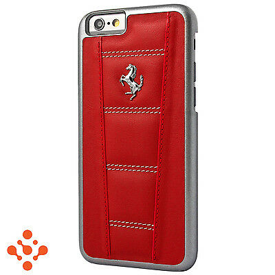 """Official Ferrari 458 iPhone 6 6S 4.7"""" Red Leather Hard Case Silver Horse"""
