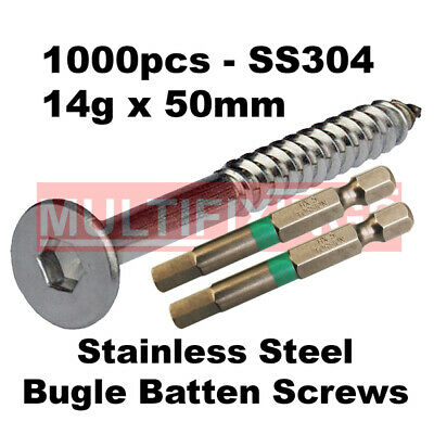 1000pcs - 14g x 50mm Stainless SS304 Bugle Head Timber Decking Screws