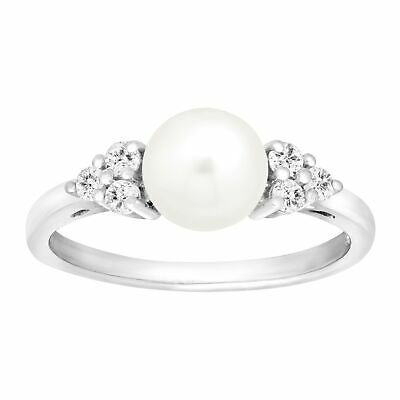 Freshwater Pearl & 1/4 ct White Topaz Ring in Sterling Silver