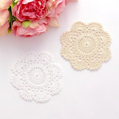 Crochet doilies white and cream 12 - 13 cm for millinery , crafts