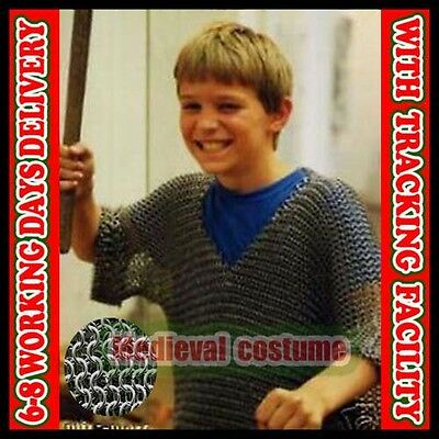 Butted Aluminum Chainmail Shirt 10-15 yrs child, Medieval Chain Mail Haubergeon