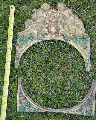 Antique French Belgian Comtoise Morbier Brass Clock Face Surround 6