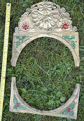 Antique French Belgian Comtoise Morbier Brass Clock Face Surround 21
