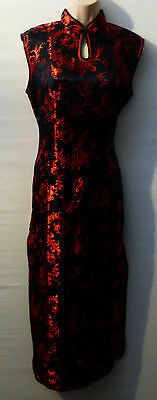 LAOGUDAI cheongsam maxi dress UK M 10 12 US 8 10 Pheonix tail pattern
